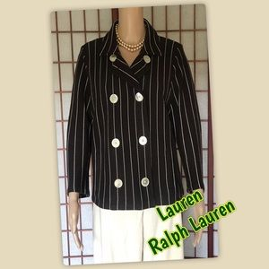 EUC Brown knit blazer jacket w/White pinstripes